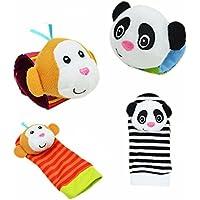 Baby Foot Finder–Calcetines de bebé pie Finders–Calcetines de bebé juguetes bebé sonajero juguetes Animal Correa para Muñeca con Sonajero Bebé pie Bug Correa para Muñeca–Muñeca sonajero orgánico