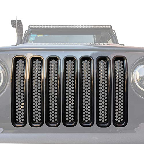(Black Front Grill Mesh Inserts Clip-in Honeycomb Grille Guards for 1997-2006 Jeep Wrangler TJ & Unlimited (Pack of 7))