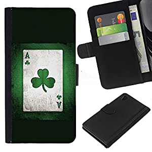 Sony Xperia Z4 / Sony Xperia Z4V / E6508 , la tarjeta de Crédito Slots PU Funda de cuero Monedero caso cubierta de piel ( Card Clover Trefoil Plant Art Game Poker Green)
