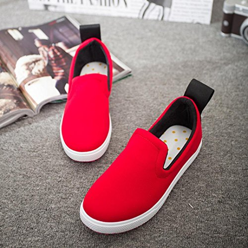 Clode® Womens Ladies Round Toe Flats Slip-on Girls Low-Top Sneakers Comfort Work School Shoes Loafers Red tD9N9Q