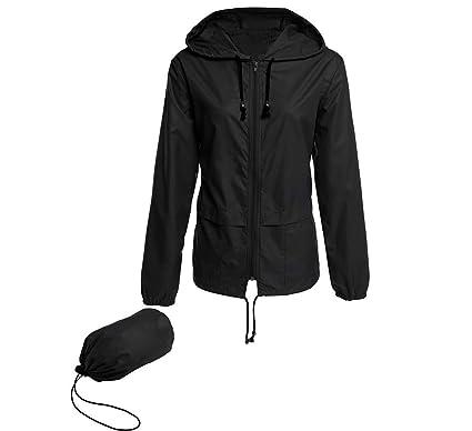 214a5093a Bemobeauty Women's Lightweight Waterproof Hooded Raincoat Windbreaker  Packable Outdoor Active Rain Jacket (S-XXL