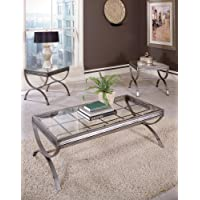 Emerson Set of 3 Tables Brushed Nickel
