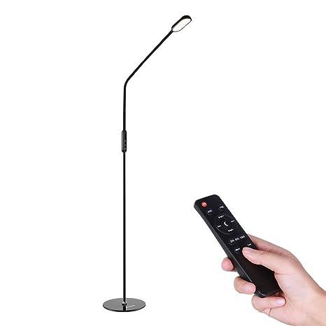 ICOCO Lámpara de Pie LED 9W Mando a Distancia Control Remoto 1.74m Altura Ajustable, 5 Niveles de Brillo, 5 Colores de Temperatura para Casa, Oficina, ...