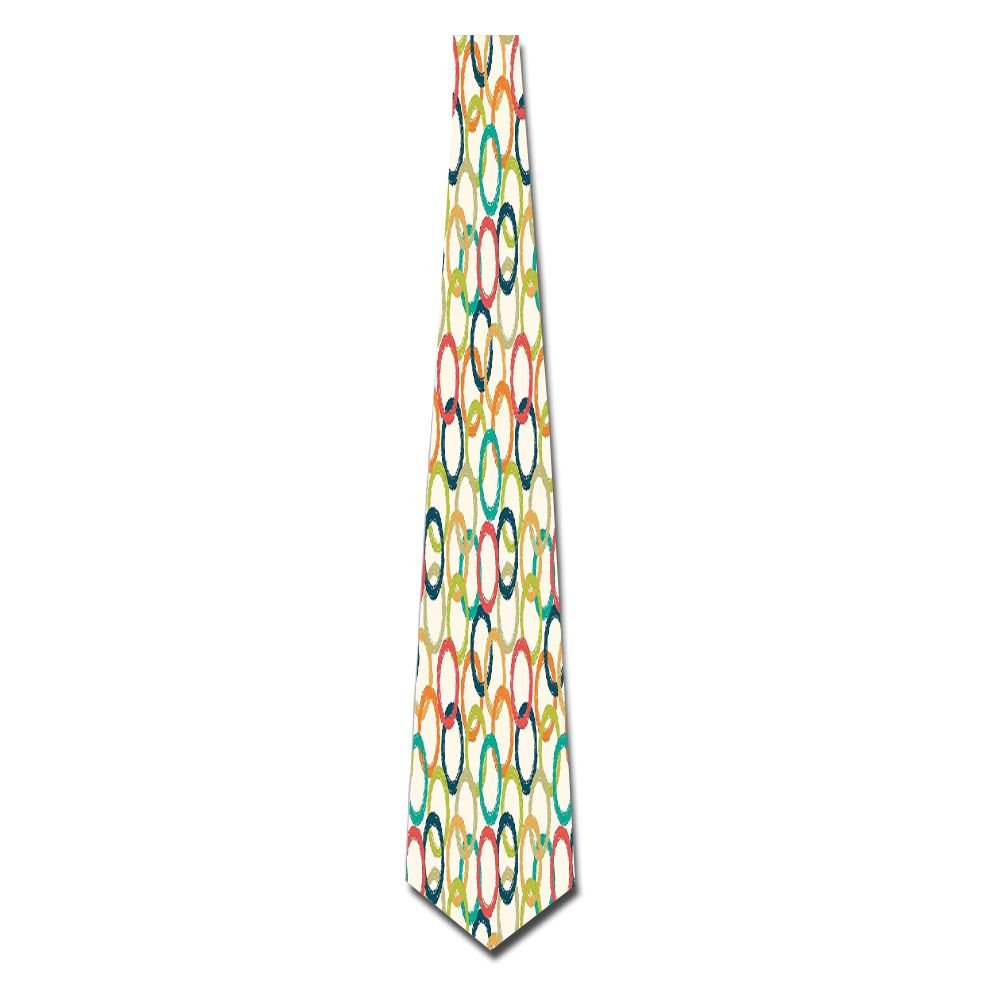 WuLion Colorful Doodle Like Hand Drawn Big Circles Hipster Style Men's Classic Silk Wide Tie Necktie (8 CM)