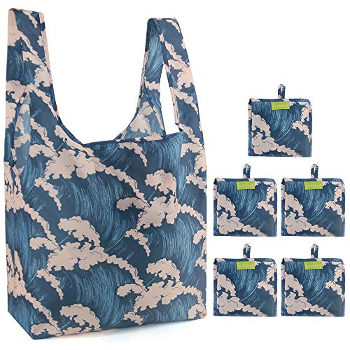 Reusable-Groceries-Bags-Shoppin-Bags with Pouch 5 Pack 50 LBS Ripstop Cute Wave Foldable Bags in Bulk Washable Eco Friendly Sturdy Xlarge Machine Washable Waterproof Lightweight