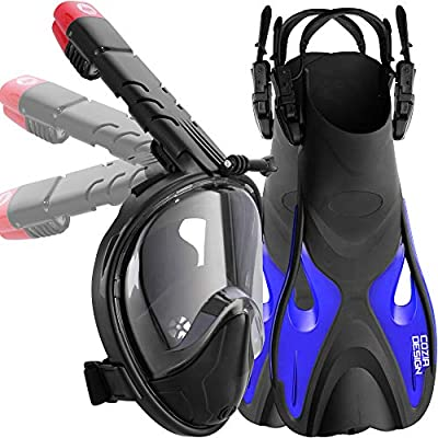 cozia design Snorkel Set with Snorkel Mask Full Face and Adjustable Diving Fins 180 Full Snorkel Mask with Go Pro Mount and Longer Foldable Tube