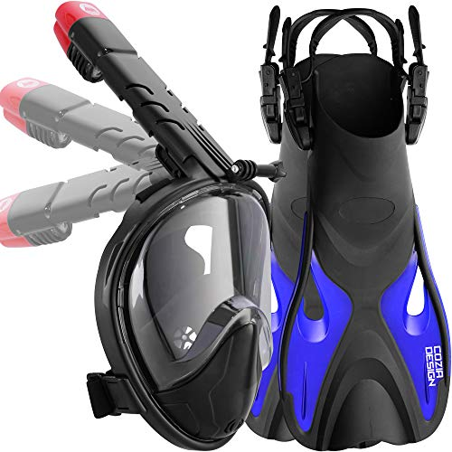 cozia design Foldable Snorkel Set (Mask M + Fins (4.5 to 8.5))