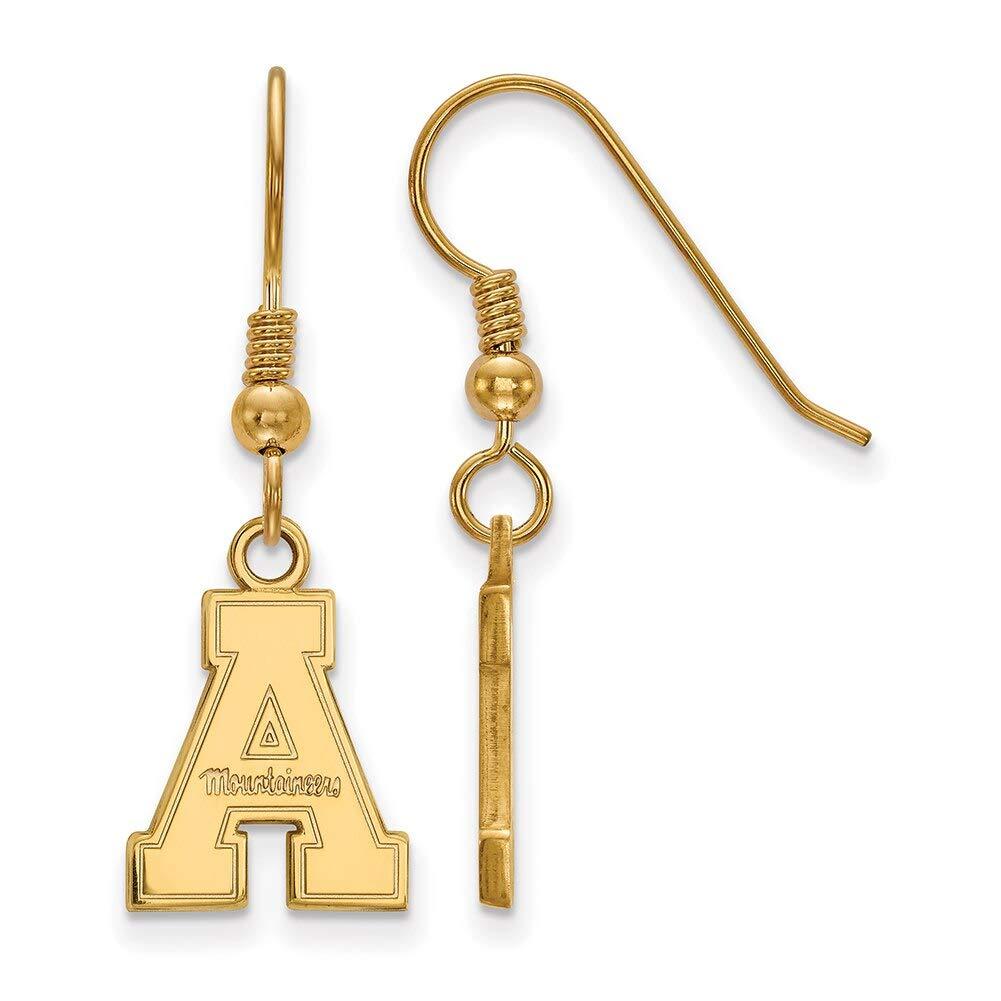 Lex /& Lu LogoArt Sterling Silver w//GP Appalachian State University Small Dangle Earrings