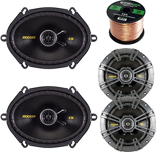 Car Speaker Set Combo Of 2 Kicker 40CS654 6.5″ 600W 2-Way CS-Series Car Audio Speakers, 2 Kicker 40CS684 6×8″ 450W 2-Way Car Coaxial Stereo Speakers, Enrock 50 Foot 16-Gauge Speaker Wire Top Deals