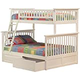 Cheap Columbia Bunk Bed with 2 Raised Panel Bed Drawers, Twin Over Full, White