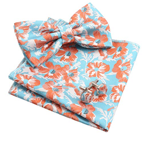 - Alizeal Mens Floral Pattern Pre-tied Bow Tie, Hanky and Cufflinks Set, Turquoise+Orange