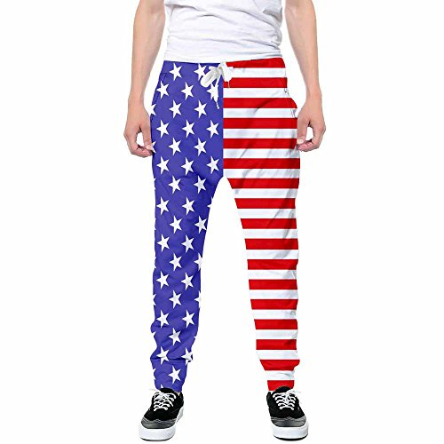 Goodstoworld Unisex Novelty Stripe Graphic Trousers Sweatpants American Flag Pants Fit Casual Pants Large Stripe