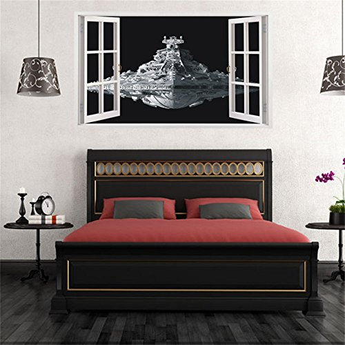 Zehui Alien Spaceship Wall Stickers DIY Three-dimensional Star Wars Waterproof Removable Window Wall Decals Decor -