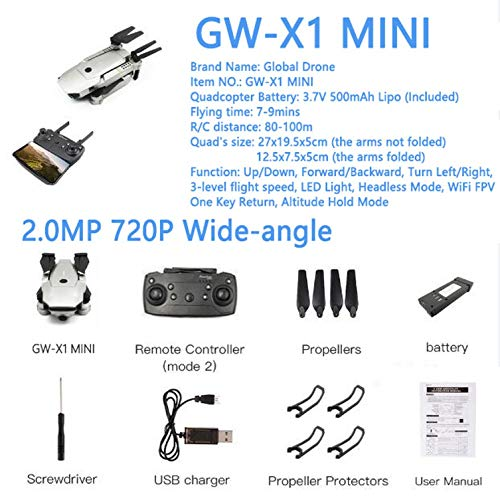 - GW-X1 Quadrocopter Mini Drone 2.4GHz 6-Axis Foldable FPV Dron Fixed High RC Helicopter WiFi Drones with Camera HD,GW-X1 Mini 720P WA