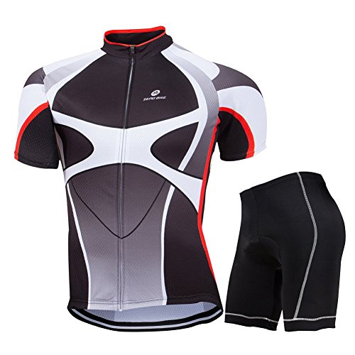 Jersey Shorts Full Zip - ZEROBIKE Men's Short Sleeve Breathable Cycling Jersey Sports Clothing 3D Padded Shorts Set Full Zip