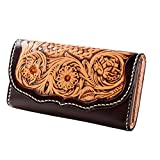 ANCICRAFT Handmade Genuine Leather Long Wallet with Flower Carving (Brown)