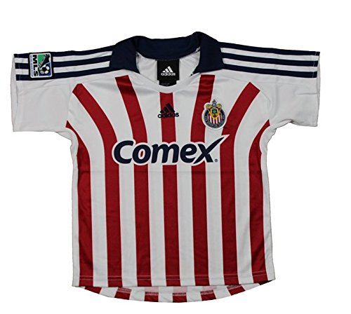 Club Deportivo Chivas USA MLS Infants Away Replica Jersey Polo Top, White & Red (12 Months, White/Red)