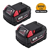 6000mAh High Capacity Replacement 18V Battery for Milwaukee M18 XC Lithium M18B 48-11-1820 48-11-1828 48-11-1840 48-11-1850 Cordless Tools 2 Packs
