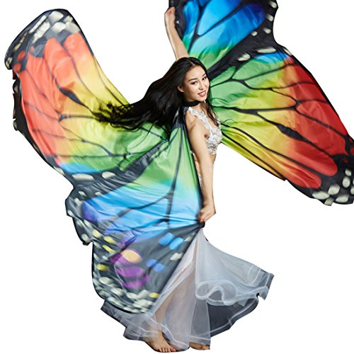 [Butterfly Belly Dance Costume 360¡ãIsis Wings Egyptian Dance Wear No Sticks Rainbow] (Dance Costumes For Liturgical Dances)