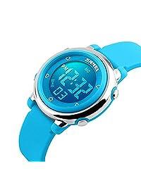 Kids Digital Watch Boy Girls Outdoor Sports LED Alarm Stopwatch Children's Dress Wristwatches(Blue)