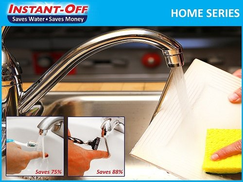 Water Saver Faucet Aerator - INSTANT-OFF Home 500 CFlow Universal Water Saver for Kitchens & Laundry. Automatically Shuts Off Water, Optional Continuous Water Flow, Reduces Spread of Germs from faucet handles, Stops Drips.