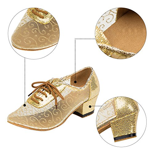 Haodasi Women Social Latin Dance Shoes Ballroom Modern Breathable Hollow Dancing Shoes 3CvGft