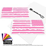 Distressed Flag Decal Sticker - Quantity: 2 - Indoors or Outdoors - Cars, Laptops, Walls, Windows, etc. (6.5'' wide x 3.2'' tall, Light Pink)