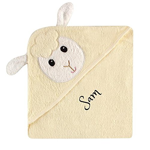 Personalized Baby Hooded Towel -Ultra Soft and Super Absorbent Baby Hooded Bath Towel with A Free Monogram/Name Embroidered | Ideal for Baby Shower Gift (Lamb)
