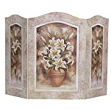 Lily Flower 3 Panel Fireplace Screen For Sale
