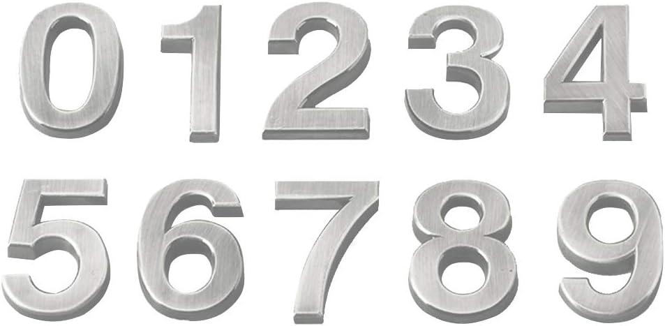 Vosarea 20 St/ücke 3D-Hausnummer 0-9 Aufkleber T/ürnummer Zimmernummer f/ür Haus Hotel T/ür Adresse Zeichen 5 cm Silber und Golden