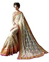 KAMAL Georgette Saree With Blouse Piece (Ab-93007_Off White_Free Size)