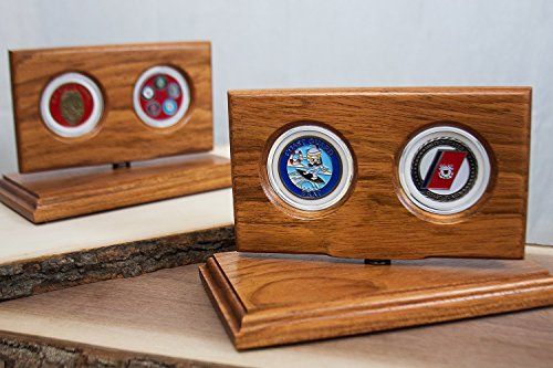 (Military Challenge Coin Display, Military Gifts, Holds 2 Challenge Coins - Natural Jatoba Wood - For 50mm (2