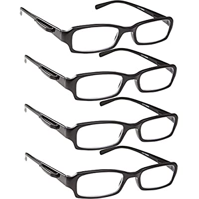 Reading Glasses - 4 Pack Standard Readers for Men and Women with Pocket Clip