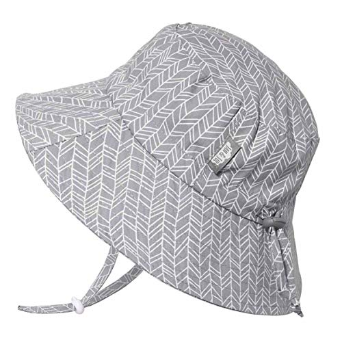 JAN & JUL Newborn Infant Baby Girl Boy Cotton Bucket Sun Hat 50 UPF Protection, Adjustable Good Fit, Stay-on Tie (S: 0-6m, Grey Herringbone)