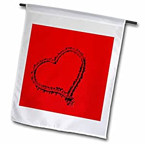 fl_9312_1 Yves Creations Hearts - Deep Red Heart in the Sand - Flags - 12 x 18 inch Garden Flag