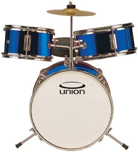 Union DBJ3067(DB) 3-Piece Toy Drum Set with Cymbal and Throne - Metallic Dark Blue