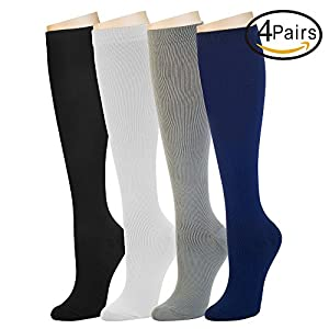 4 Pairs Compression Socks For Women and Men -- Best Medical, Nursing, Athletic, Edema, Diabetic,Varicose Veins , Maternity, Travel, Flight Socks - Running, Fitness -15-20mmHg.
