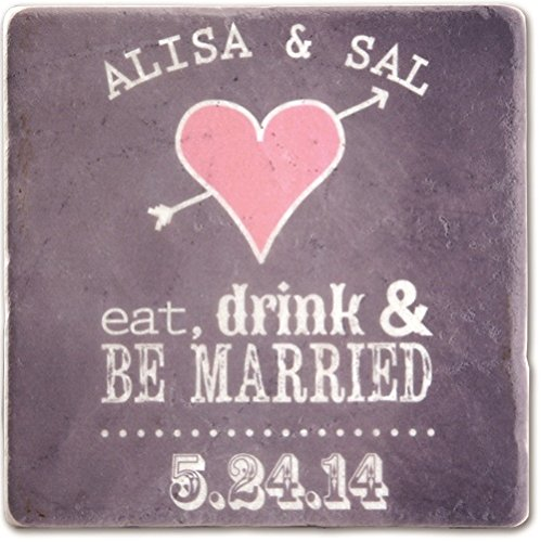 Eat, Drink & Be Married Personalized Tumbled Marble Coasters - Set of 4