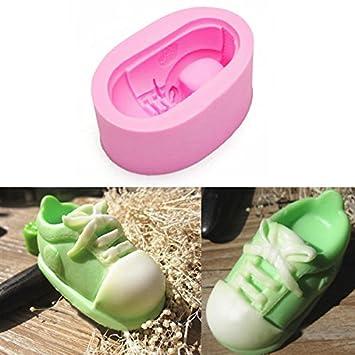 3D zapatos de lona lindo de silicona pasta de azœcar del molde del molde del chocolate: Amazon.es: Hogar