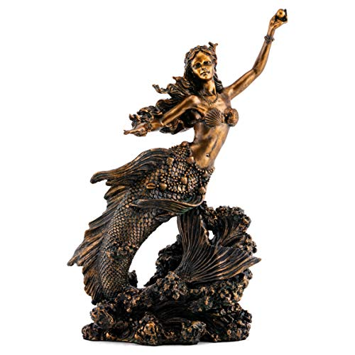 Top Collection Mermaid Holding Pearl Statue Hand Painted Mythical Creature Sculpture with Bronze Finish Look- 10.25-Inch Collectible Figurine