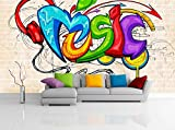 Removable Wallpaper Mural Peel & Stick Illustration of Music Background Graffiti Style (104W X 71H)