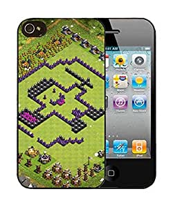 Case for Iphone 4S 4, Cover for iPhone 4 4S, Clash of Clans Base Design TH6 Defense Stylish Game Themed Scratch-ResistantCell Phone Protector for iPhone 4 4S