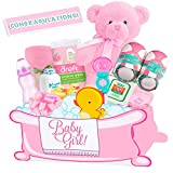Baby Boutique ''Newborn Baby Girl Bath Time'' Deluxe Gift Basket