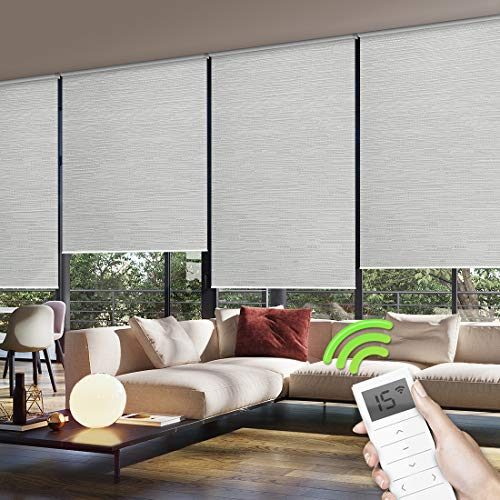 (Yoolax Motorized Window Roller Shades Blinds Wireless Remote Control -100% Blackout Fabric Shades for Home and Office Customized (Jacquard White) )