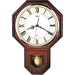 Hot Selling Classic Schoolhouse Roman Pendulum Wall Clock Chimes Every Hour With Westminster Melody Made in Taiwan, 4AA Batteries Included (PP0258-R Wooden Grain)