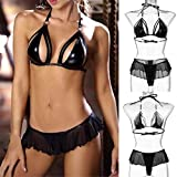 Yliquor New Women Mesh Sexy Hollow Babydoll Artificial Leather Bandage Lingerie Set Original Anti-Slip Comfort Bikini Multiway Lightly Full Coverage: more info