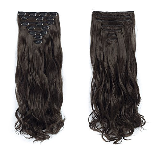 7pcs/set Clip in Hair Extensions 20inch Long Wavy Heat Resis