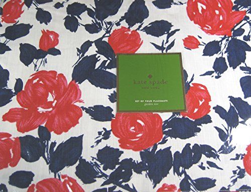 (Kate Spade Garden Rose Placemats Navy/Red 13