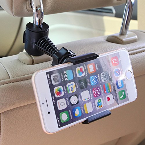 Universal Baby Kids Car Backseat Headrest Car Mount Stand Snap-on Holder with 360 Degrees Rotation 65-95mm for Apple