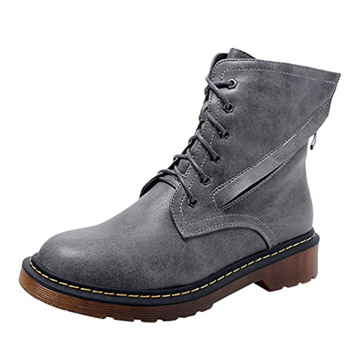 Anguang Women's Boots Ladies Winter Leather Lace-Up Boots Ankle Flat Boots Snow Shoes Gray Vd97vA0by